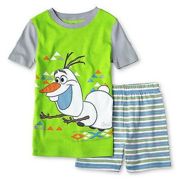 Licensed cool Disney Boys Frozen OLAF SNOWMAN PJ Pal Pajamas Two Piece Set Short Sleeve 4 & 10