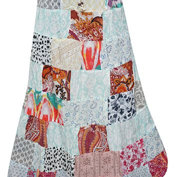 Womens Skirts Multicolored Bohemian Patchwork Rayon Fashionable Skirts L