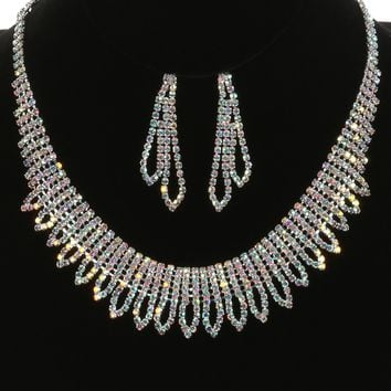 Aurora Rhinestone  Choker Wedding Formal  Necklace Earring Set