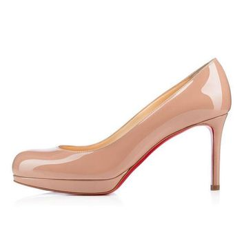 PEAPUX5 christian louboutin cl new simple pump nude patent leather 85mm stiletto heel classic