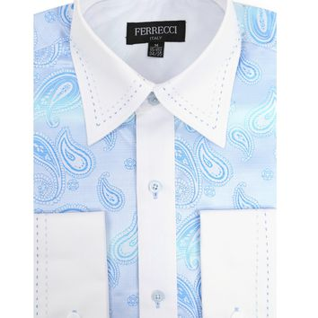 Ferrecci Men's Satine Hi-1025 Turquise Paisley Button Down Dress Shirt