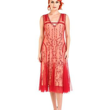 Nataya AL-281 Jackie 1920s Flapper Style Party Dress in Cherry