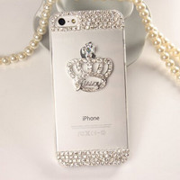 Luxury Rhinestone DIY Crown Back Cover Dandelion clear Crystal bling Diamond Transparent phone case for iphone 5 5s SE PT2186