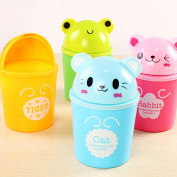 Lovely Cartoon Animal Plastic mini Table Dustbin Sundries Barrel Storage Tank Desktop garbage receive a box trash can ash-bin