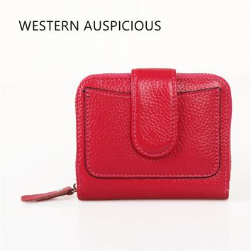 WESTERN AUSPICIOUS Women Wallets Zipper And Hasp Cow Leather Outside + PU Leather Inside Female Purse Large Capacity Billetera