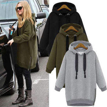 Fashion Women Long Sleeve Hooded Jacket Loose Warm Sport Hoodies Solid Sweatshirt Plus Size 3 Colors