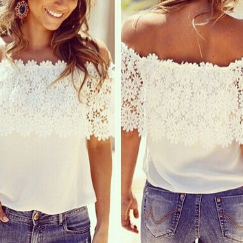S-4XL 2015 plus size women chiffon blouses lace shirt women tops summer ladis white blouse floral casual shirt camisas = 1958343748