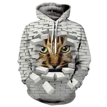 Grey Blocks Cat Hoodie