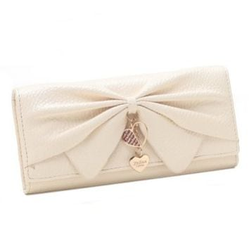 Damara Women Long Faux Leather Bifold Large Bow Design Wallet Handbag,Beige