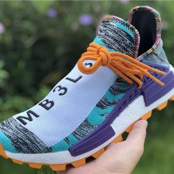 [Free Shipping ]Adidas Pharrell Williams PW NMD Trail Solar Afro Hi Res Aqua BB9528  Running Sneaker