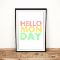 "White Art Print ""HELLO MONDAY"" 