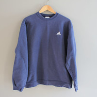 Adidas Sweatshirt Grey Blue Fleece Lining Cotton Adidas Pullover Baggy Slouchy Sweater Vintage Minimalist 90s Sweater Size M - L