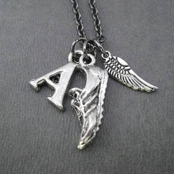 I Run. I Fly. Small Wing Running Necklace - Your Initial - Gunmetal chain - Add a Distance or XC Charm - Personalized Runner Necklace - Run