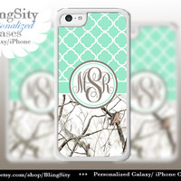 Monogram Iphone 5C case iPhone 5s iPhone 4 case Ipod 4 5 Touch case Real Tree Camo White Mint Quatrefoil Realtree Personalized