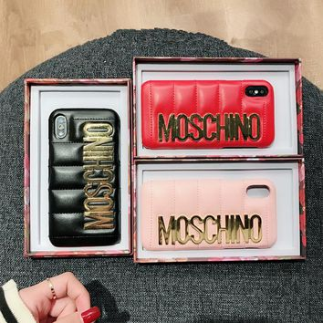 """Moschino"" Fashion Leather Simple Letter iPhoneX/8/6S Hard Phone Case iPhone7 Plus Women Apple Phone Shell"