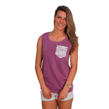 Pi Beta Phi Tank Top in Berry with Pattern Pocket by the Frat Collection