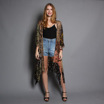 80s DUSTER JACKET / Metallic Sheer Tribal Draped Cardi