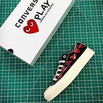 CDG PLAY x Converse Chuck Taylor Material OX Addict Vibram Low Black Sneakers - Best Online Sale
