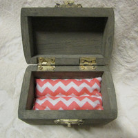 Gray and Coral Wedding Ring Bearer Box with Heart Coral White Chevron Pillow