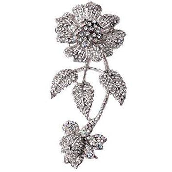 Alilang Womens Vintage Iridescent Crystal Rhinestone Flower Prom Corsage Wedding Floral Brooch Pin