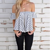 Summer Sexy Stripes Black & White Tops [9017654340]