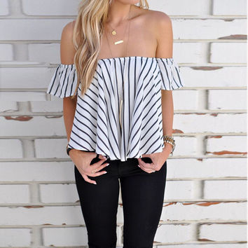 Summer Sexy Stripes Black & White Tops [9087819652]