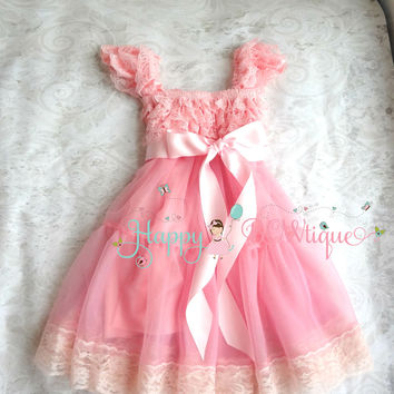 Bubblegum Pink Bow Babydoll Chiffon Lace Dress