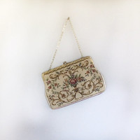 Needlepoint Handbag / Petite Point Handbag / 60s Dress Bag / Vintage Handbag / Fabric Handbag / Gold Lame Handbag / 60s Tapestry Bag