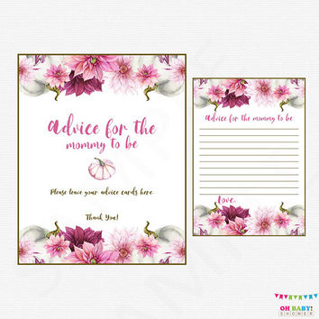 Pumpkin Baby Shower, Advice for Mommy To Be, Advice for New Parents, Watercolor Baby Shower, Girl Baby Shower, Floral Instant Download, PPMK