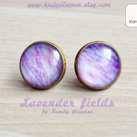 Lavender vintage earrings Stud Lavender flowers field Nature jewelry Photography earrings Whimsical