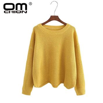 OMCHION Autumn 2017 O Neck Women Sweaters And Pullovers Casual Solid Waves Irregular Jumper Knitted Female Loose Variegate WMY80