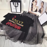 """Gucci"" Women Casual Fashion Letter Print Embroidery Short Sleeve T-shirt Gauze Skirt Set Two-Piece"