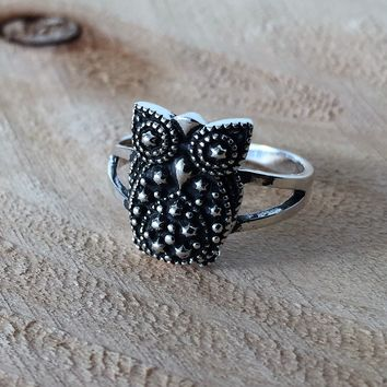 Sterling Silver Owl Band Ring