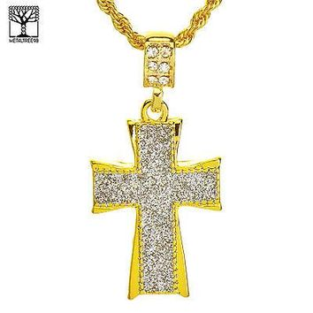 """Jewelry Kay style NEW Men's Iced Out Fashion Glitter Cross Pendant & 22"""" Rope Chain Set NA 5194 G"""