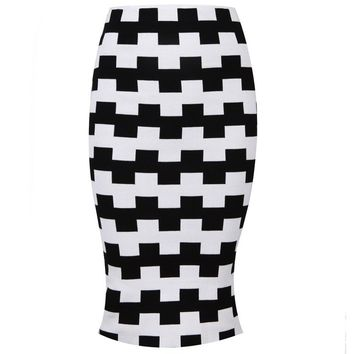 Posh Girl Black And White Check Print Bodycon Skirt
