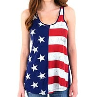 Womens Deconstructed Flag Tank Top