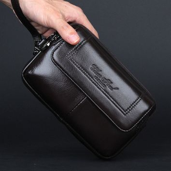 Men's Genuine Leather Hip Waist Bag Clutch