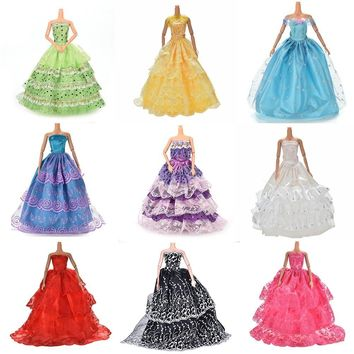 White Elegant Handmade Wedding princess Dress For Barbie Doll Floral Doll Dress Clothes Clothing Multi Layers Dolls Accessories