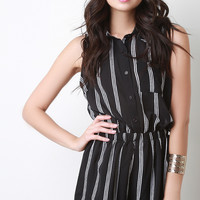 Sleeveless Vertical Stripe Button Up Romper