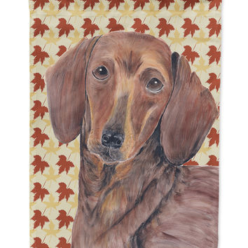 Dachshund Fall Leaves Portrait Flag Garden Size