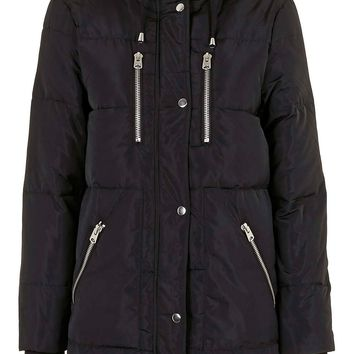 Topshop 'Percy' Quilted Longline Parka | Nordstrom