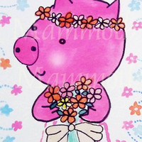 Pig watercolor digital download 8 x 10 watercolor farmhouse wall decor -cute pig art flower download -Whimsical pig animal -wall art