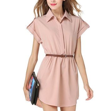 Lady Summer Plus Size Ladies Chiffon Lapel Collar Blouse for Women Shirts Short Sleeve Blouse Female Blouse With Belt