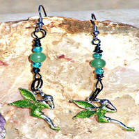Sparkle Tinkerbell Earrings, Green Aventurine, Chakra Jewelry ,Direct Checkout, Woodland Fantasy