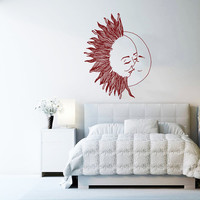 Wall Decal Vinyl Sticker Decals Art Home Decor Design Murals Sun Moon Crescent Dual Ethnic Stars Night Symbol Sunshine Fashion Bedroom AN427