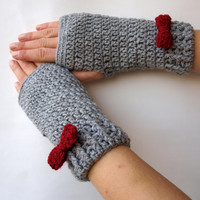 Hand Crocheted Fingerless, ,wrist warmer ,fingerless glove gray with red bow