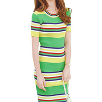 Green Striped Short Sleeve Knitted Midi Dress
