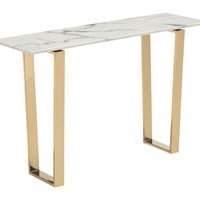 Atlas Console Table Faux Marble & Gold