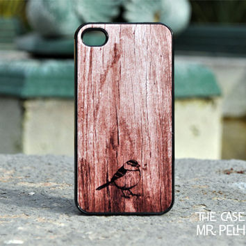 iPhone Case - Bird Illustration on Wood Print