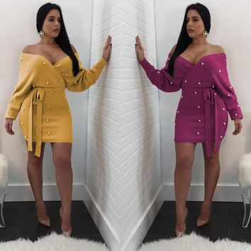 Autumn Women Sexy Off Shoulder V Neck Backless Long Sleeve Beading Dress